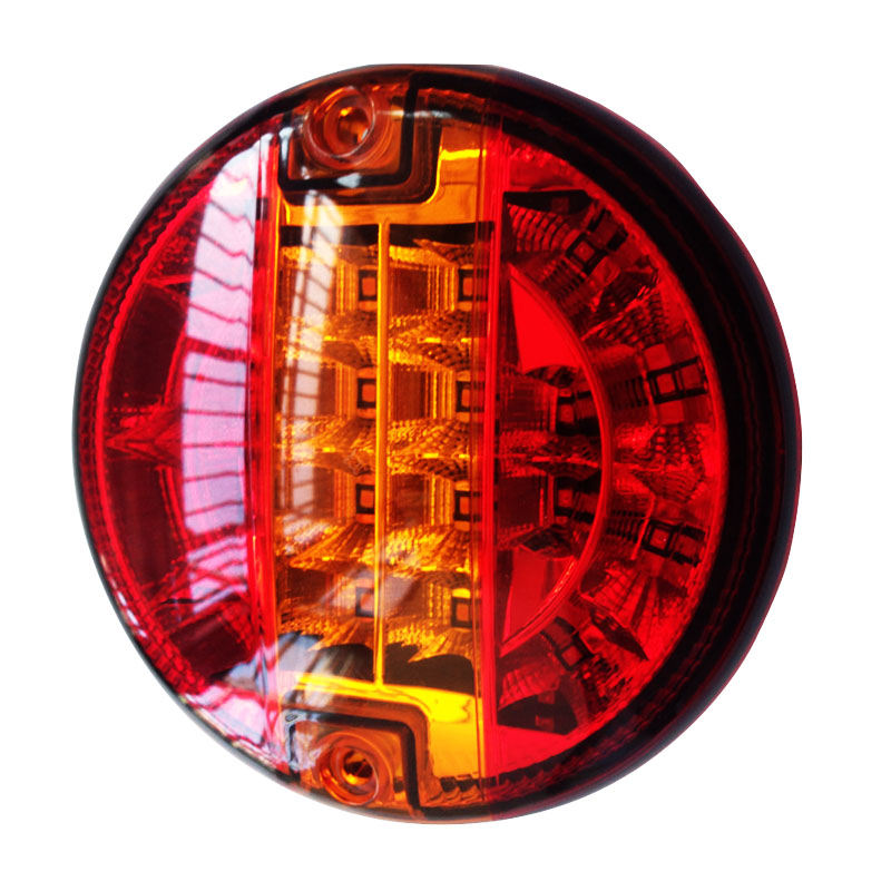 Emark 140mm 20LED Trailer Truck Stop Tail Lights Amber Left Right Turn Signal Round Lamp Caravan Lorry Van Rear Light  12V/24V 2pcs 20 led car truck red amber white led trailer waterproof tail lights turn signal brake light stop rear lamp dc 12v cy798 cn