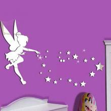 3D wall sticker fairy spirit acrylic mirror childrens room decor bedroom decals
