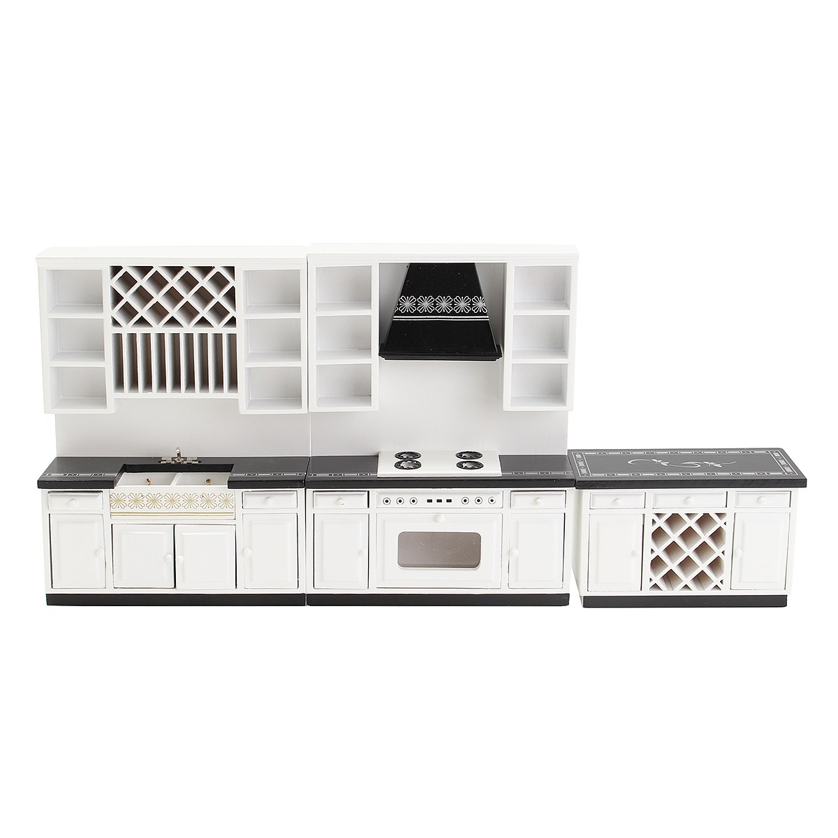 3 teilesatz diy holzgehäuse gesetzt puppenhaus miniatur möbel küche becken röster spielzeug