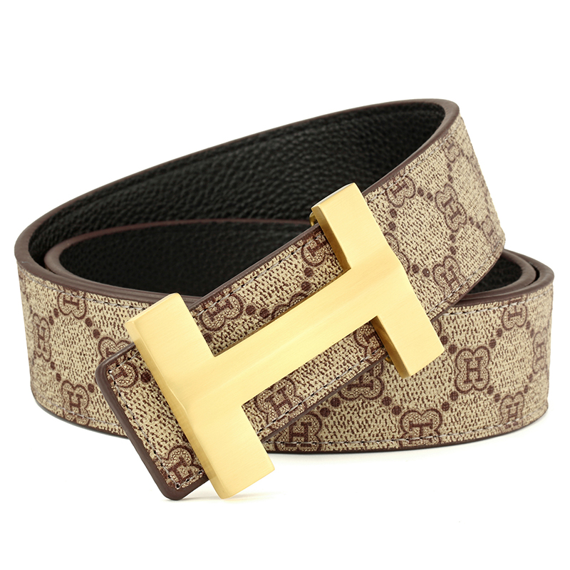 Luxury H Buckle Brand Designer Solid Brass   Belt   Men High Quality Women Punk Genuine Real Leather Male Strap for Jeans Men Gift
