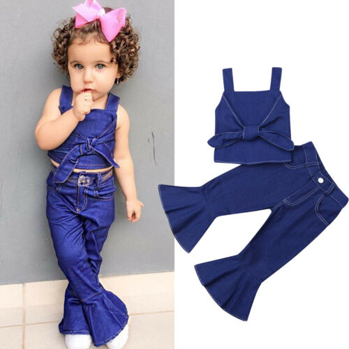 Baby Girl Kids Summer Tank Top T-shirt Shirt Clothes+Jeans Long Pants Outfit Set