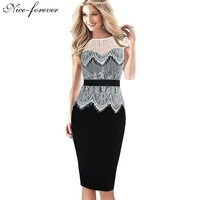 Nice-forever Hollow out Transparent White Lace Top Dress Elegant lady Patchwork Pinup Tunic Bodycon Shift Pencil Dresses 778