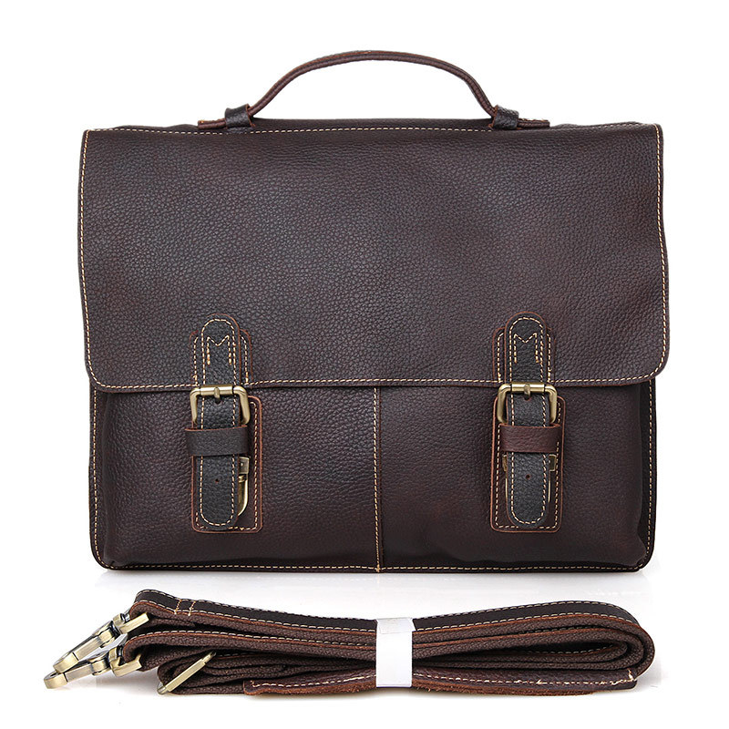 Genuine Leather Men's Briefcases 14 Laptop Handbag Men's Business Crossbody Bag Messenger Shoulder Bags for Men Handbags #J7090 women handbag shoulder bag messenger bag casual colorful canvas crossbody bags for girl student waterproof nylon laptop tote