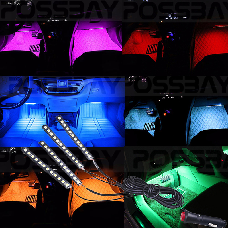 4 In1 12 Led Universal Footwell Floor Decor Atmosphere Light For Ford Toyota Bmw Car Interior Neon Strip Lights Decoration In Signal Lamp From