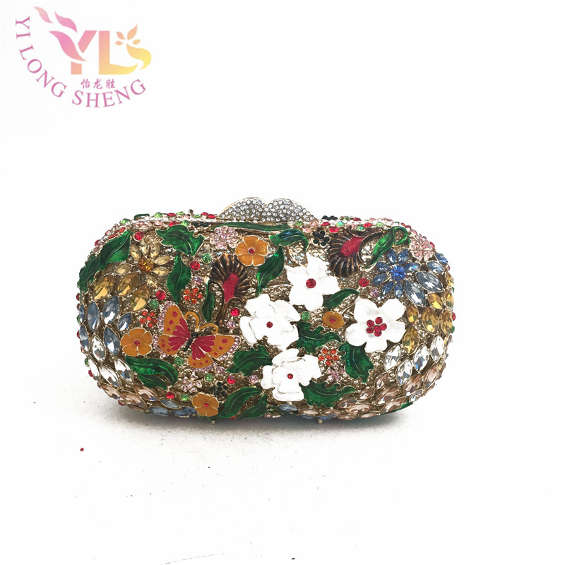 Floral Butterfly Shiny  Crystal Multi Evening Clutch Box Bag For Women Wedding Party Fashion Handbags Chain Shoulder Bag YLS-F38 luxury crystal clutch handbag women evening bag wedding party purses banquet