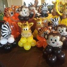Zwierzę z dżungli zestaw balonów dekoracje na imprezę urodzinową dla dzieci zoo Safari balony ze zwierzętami Jungle party akcesoria wystrój