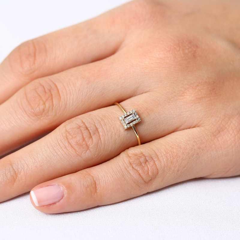 Luxus Großen Platz Cut AAA Zirkon Ring Mit Micro Gepflasterte CZ Hochzeit Ringe Für Bräute Schmuck