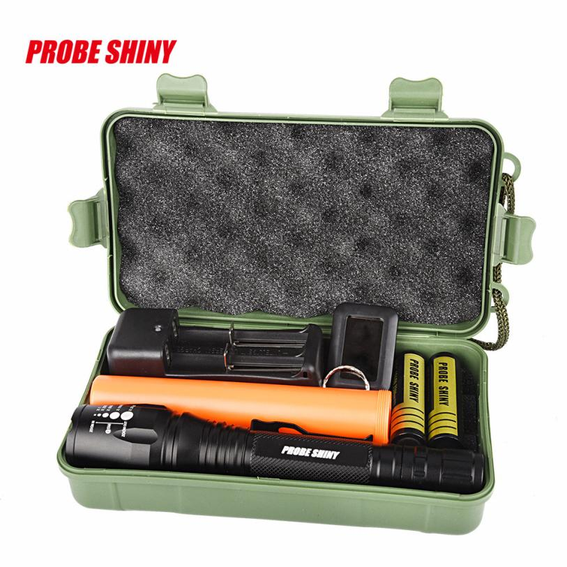 Outdoor sports waterproof camping and hiking flash set ultra high brightness XM-L T6 LED adjustable rechargeable flashlight P35