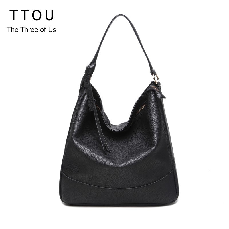 Solid Large Capacity Women Tassel Hobo Bags Shoulder Bag PU Leather Female Casual Tote Vintage Lady Handbag Bolsas Feminina TTOU цена