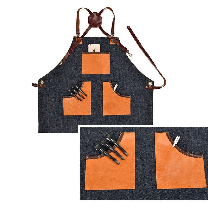 Denim Cucina Grembiule da Cucina con Regolabile Cinghia di Cotone di Grandi Dimensioni Tasche Blu Barista Gli Uomini e Le Donne Homewear - 2