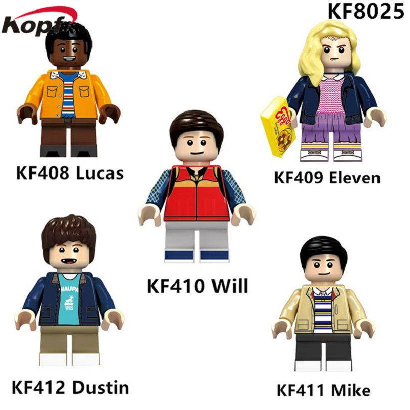 Building Blocks Super Heroes Stranger Things Lucas Dustin Mike Eleven Will Model Bricks Collection Toys for children KF8025 building blocks super heroes back to the future doc brown and marty mcfly with skateboard wolverine toys for children gift kf197