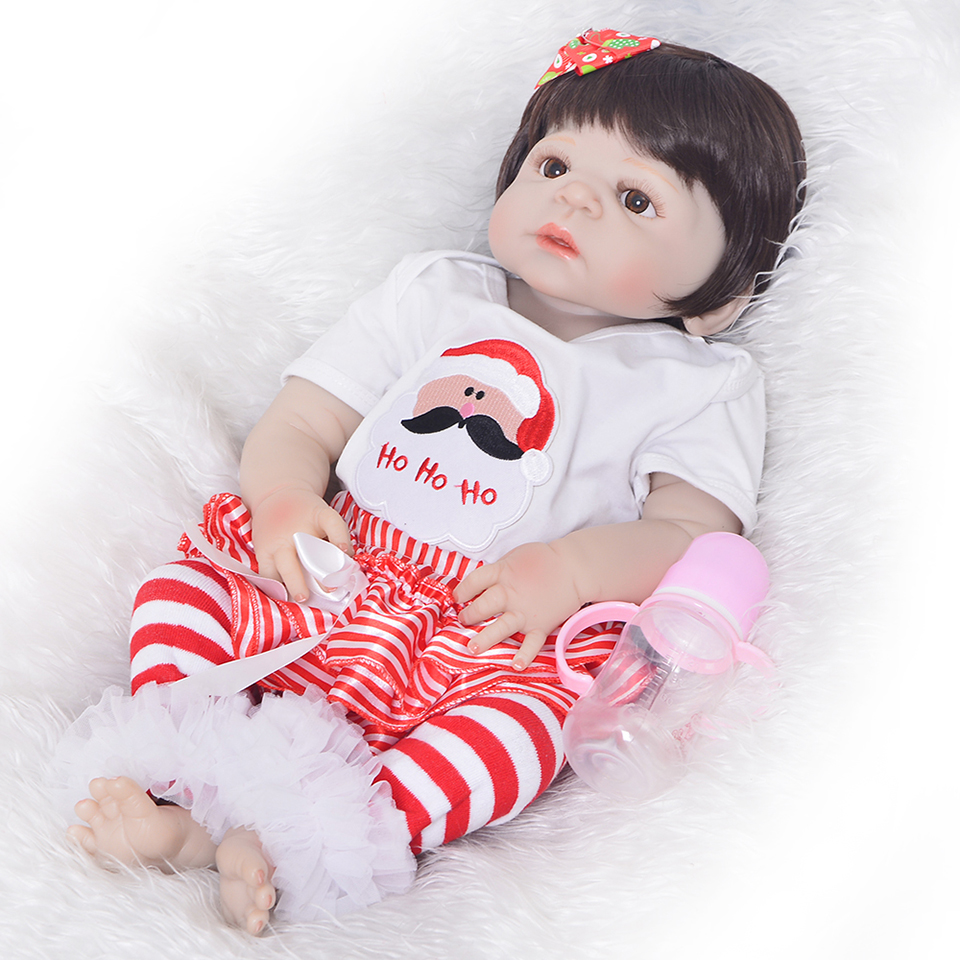 все цены на Alive 57 cm 23'' Silicone Vinyl Full Body Reborn Baby Dolls Toy New Arrival For Girl Xmas Gifts Realistic Reborn Babies Toys