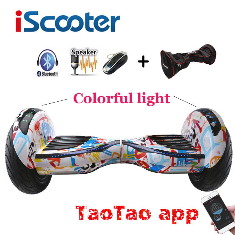 iScooter New hoverboard 10 inch two wheel smart self balancing scooter giroskuter electric skateboard with Bluetooth speakers self balancing scooters hoverboard 10 inch tires bluetooth electric scooter gyroscope two wheels france stock with bag