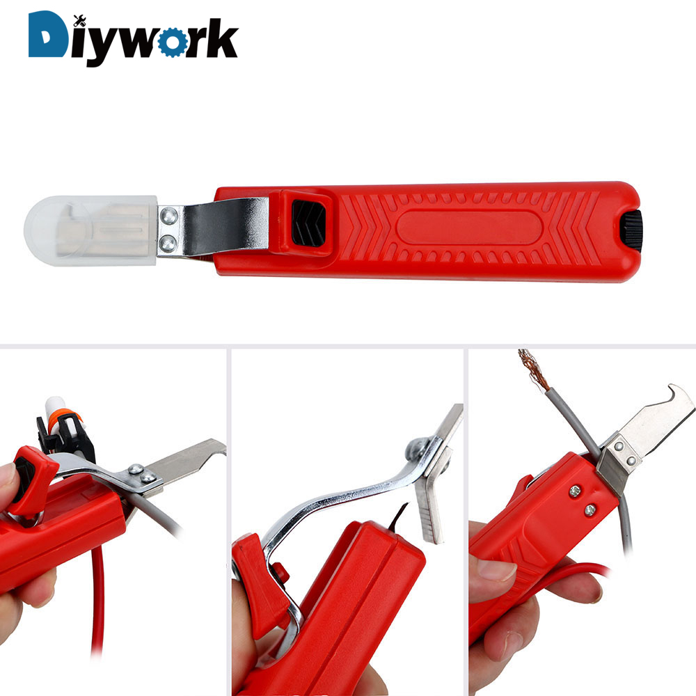 DIYWORK Adjustable Insulation Stripper Rubber Handle Cable Stripper PVC Cable 8-28mm Fastness Wire Stripper Knife