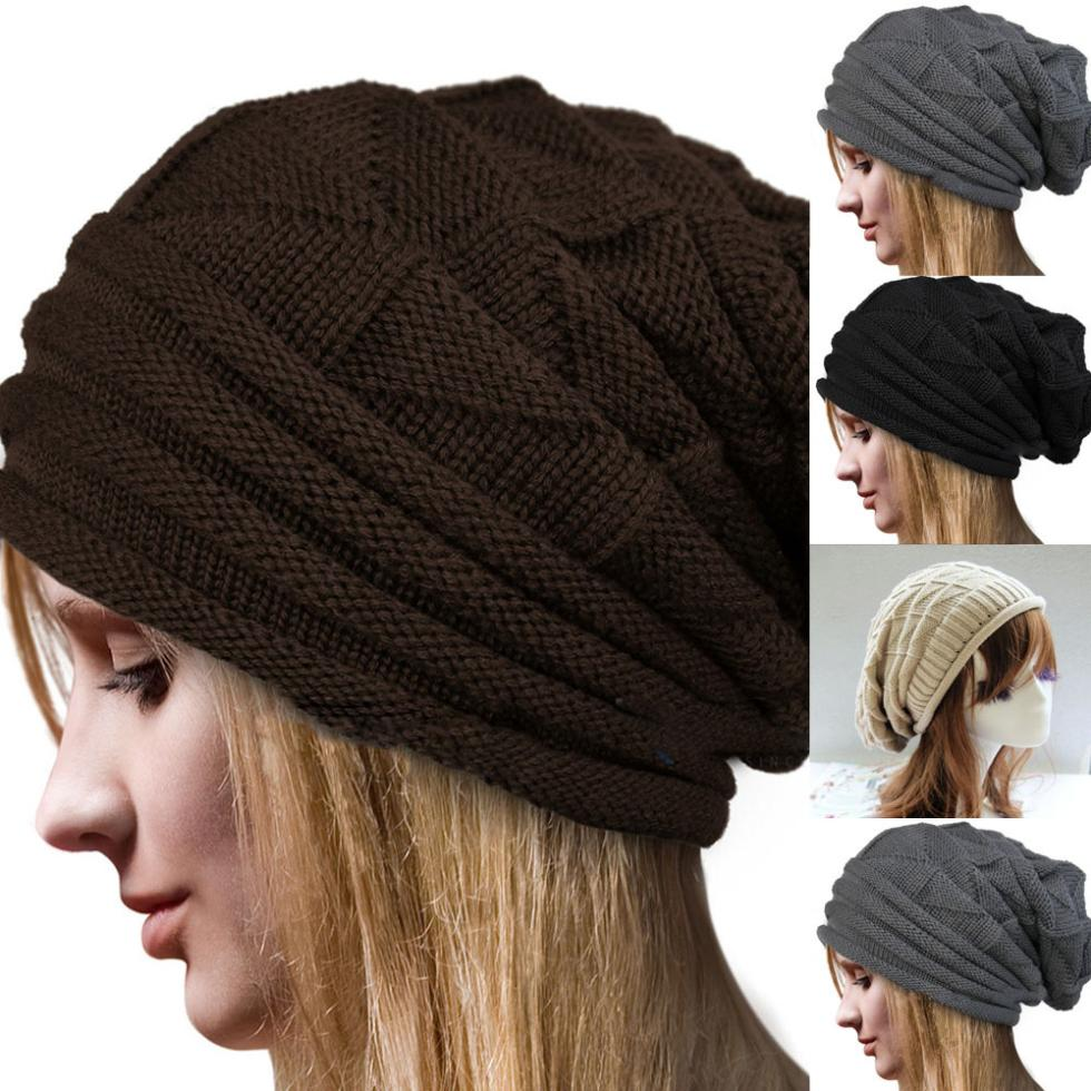 Qualified Men's Women's Knit Baggy Beanie Oversize Casual Solid Slouchy Winter Hat Chic Cap hot winter beanie knit crochet ski hat plicate baggy oversized slouch unisex cap