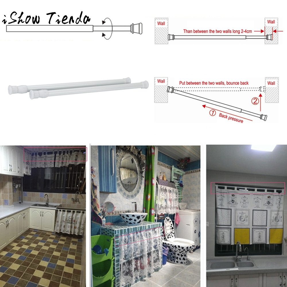Adjustable18-50cm Shower/Wardrobe Curtain Hanging Rods Sticks Pole Loaded Hanger Telescopische Opslagstaaf