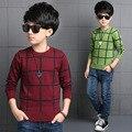 Дети осень случайно проверил свитер мальчиков детей старшего возраста блузки, зеленый и красный хлопок 4-14 лет свитер TOP14