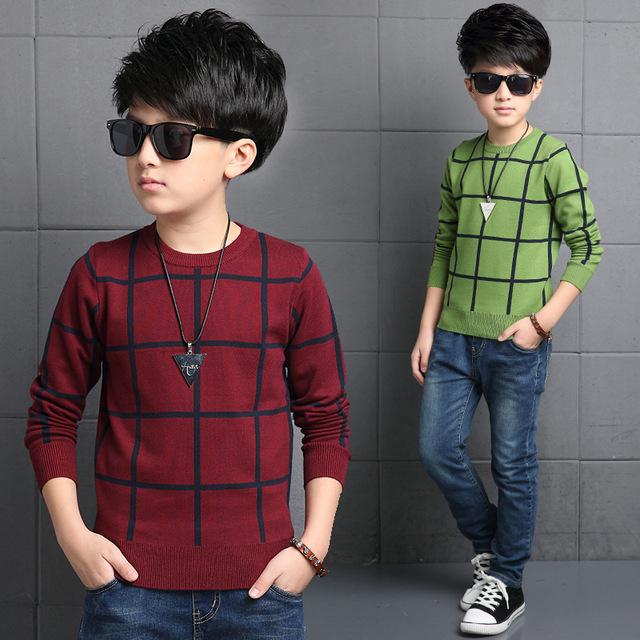 Blusas das crianças cair aleatoriamente verificado camisola meninos crianças mais velhas, verde e vermelho de algodão 4-14 y pulôver TOP14