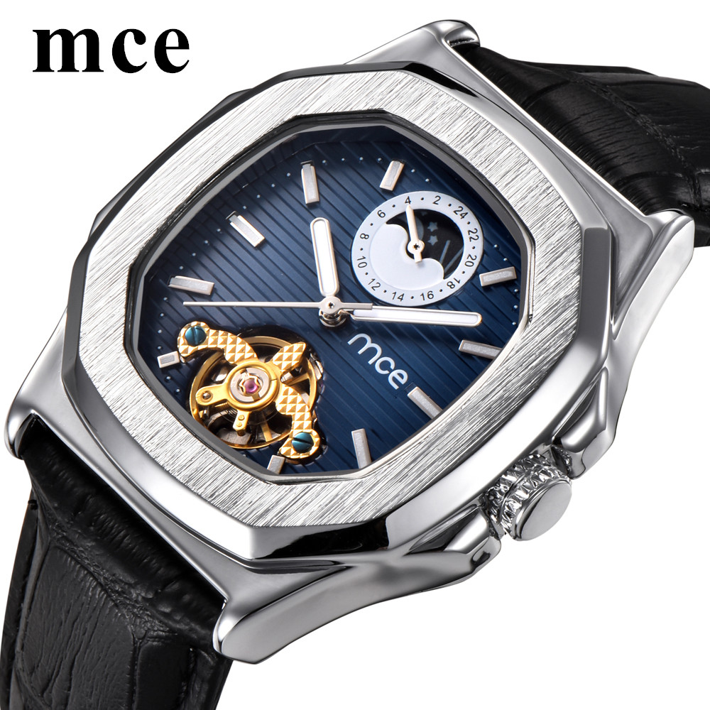 MCE Moon Phase Skeleton Mens Watches Famous Brand Square Leather Automatic Mechanical Watch Sports Casual relojes hombre New