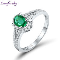 Engagement Solid 18Kt White Gold Oval 4x6mm Emerald Promise Ring Fashion Ring WU259