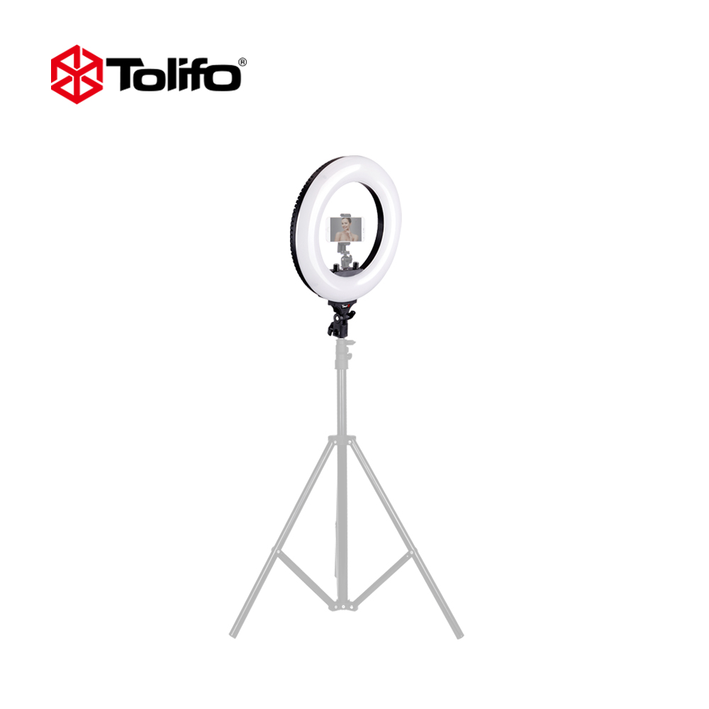 Tolifo R40B AC 40W Bi-color LED Photographic Lighting Dimmable Camera/Studio/Video Photography Ring Light Lamp 2 Color Choice curved end stainless steel watch band for breitling iwc tag heuer butterfly buckle strap wrist belt bracelet 18mm 20mm 22mm 24mm page 5