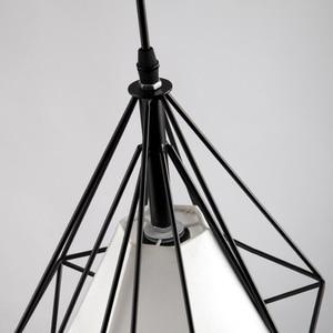 Image 5 - Creative יהלומי סגנון אמנות תליון אור מינימליסטי רטרו תעשייתי רוח ברזל כלוב ציפורים תליון מנורת הבר מסעדת משרד
