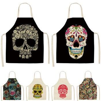 1 Uds. Skull delantal de cocina con patrones para cocinar sin mangas algodón Lino delantales dorsales para adultos accesorios de limpieza del hogar 53*65cm MC0026