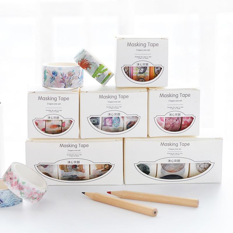 3pcs/box 1.5cm*5m Fresh Pattern Floral Washi Tape DIY Decoration Scrapbooking Planner Masking Tape Adhesive Kawaii Stationery
