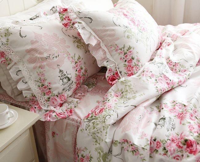 Принцесса Розовый рюшами Кружева постельного белья, романтический цветочный постельное белье, Твин Королева Король ПОЛНЫЙ