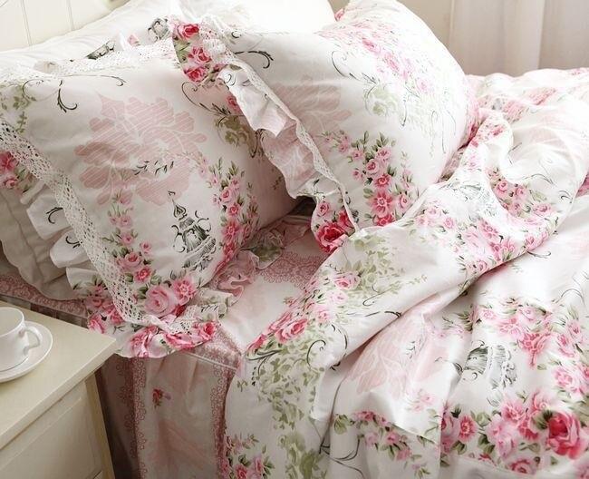 Principessa Rosa volant di pizzo set di biancheria da letto, romantico floreale set copripiumino, twin re regina completo-in Completi letto da Casa e giardino su  Gruppo 1