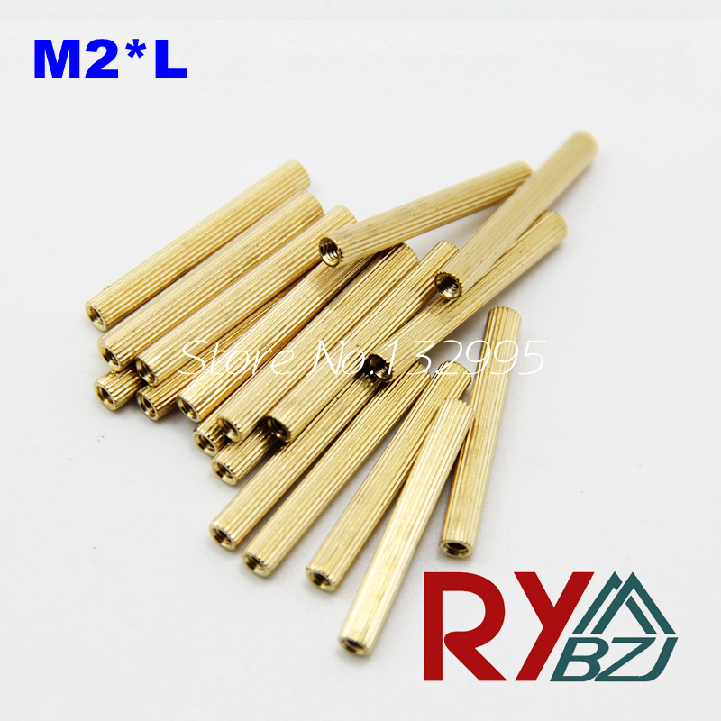 100pcs/lot  M2*L  Brass Standoff Spacer Female Female Spacing Screws Round Brass Threaded Spacer/BSSFFNNP M2R