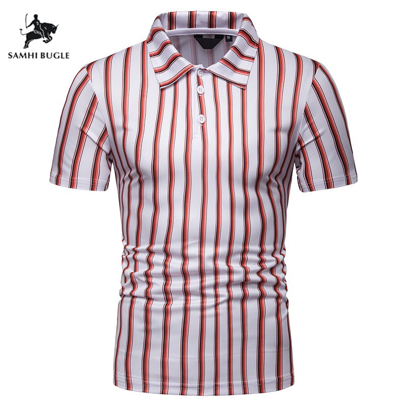 Summer Short Sleeve   Polo   Shirt Men Breathable Cotton Blend Casual Silm Fit   Polos   Para Hombre Brand Male Lapel Striped   Polo   Homme