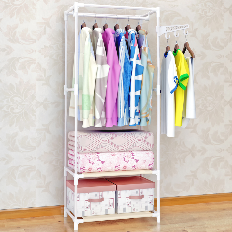 Iron Tube Wardrobe Clothes Coat Rack Bedroom Floor Hanging Clothes Handbag Storage Shelves 148cmx60cmx35cm Drying Racks Bar B478