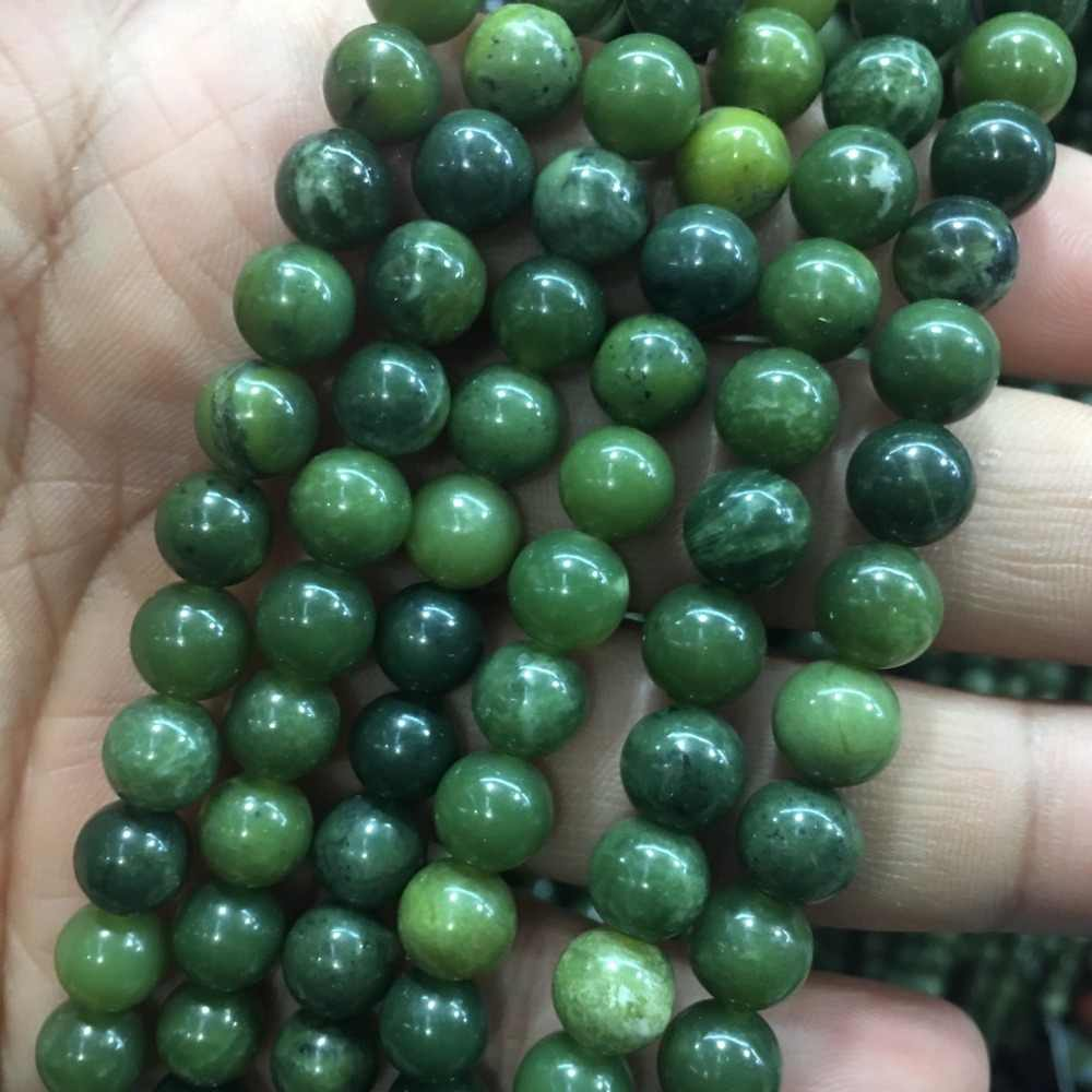 6-12mm Grade AAA Natural Dark Green African Jades Beads Round Loose Beads for Jewelry Making