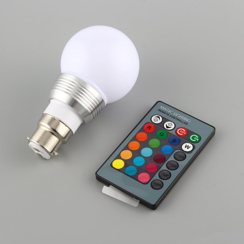 10 PCS 3W B22 16 Colors RGB LED Light Lamp Bulb W/ Remote Control 85-240V bright crystal rgb led bulb 16 colors changing remote control lights 3w e27 e14 lamp 85 265v silver golden red purple spotlights