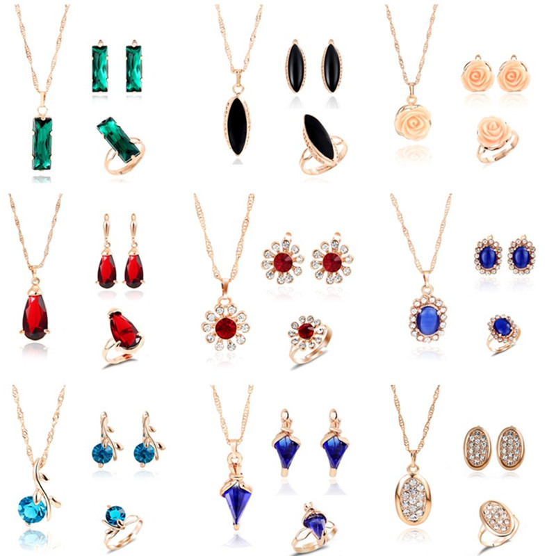 MINHIN Wedding-Jewelry-Sets Necklace Earring Crystal-Stone Engagement Adjustable Women