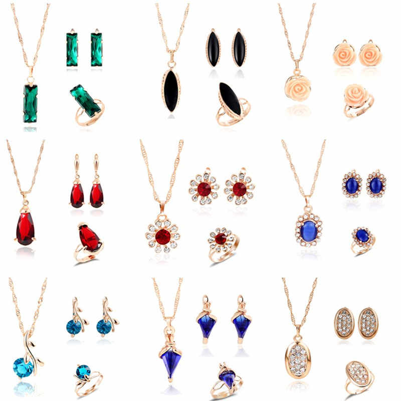 MINHIN Multi Colors Crystal Stone Wedding Jewelry Sets for Women 3pcs Necklace Earring Adjustable Ring Engagement Jewelry Set
