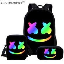 ELVISWORDS 3PCS/Set Black Hot Smile School Bag  For Teen Boys Cute Student Kids Schoolbag Cool Primary Children Satchel mochila