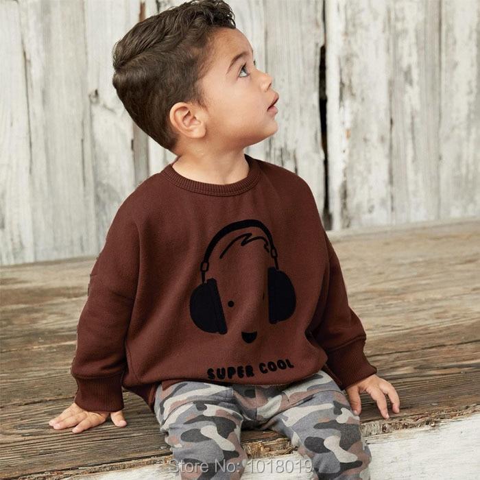 Новый 2018 Осенняя одежда для маленьких мальчиков брендовый комплект Качественный 100% хлопок Свитер с длинными рукавами брюки 2 шт. детская Ко...