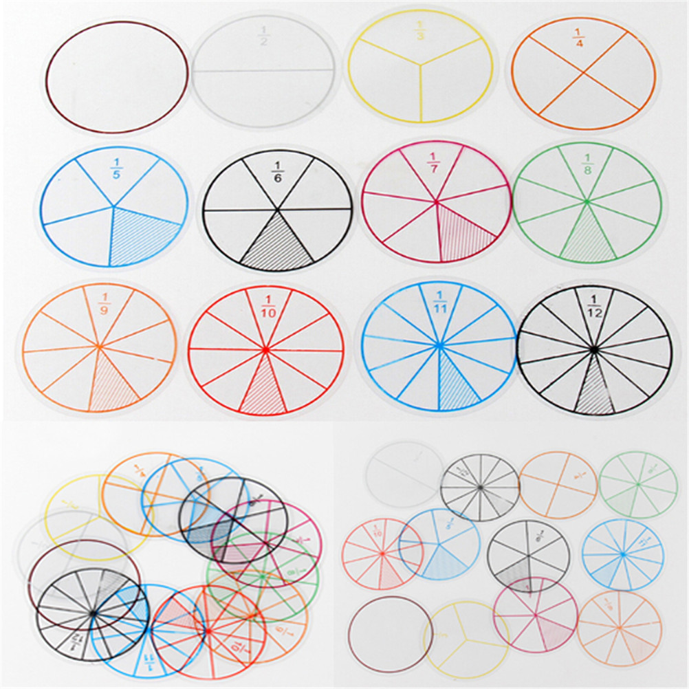 12pcs/lot Math Fractions Circles Toy Plastic Numbered Fractions Circles Math Chips Mathematics Number Toy Wholesale Dia 8cm