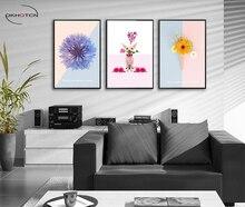 Modern Minimalist Aesthetic Flowers Puppy Decorative Painting Living Room Decor Unframed Canvas Art Prints Poster