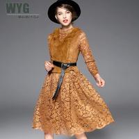 Womens Two Piece Sets 2017 Brown Rabbit Fur Vest Crew Neck Long Sleeve Knee Length Midi