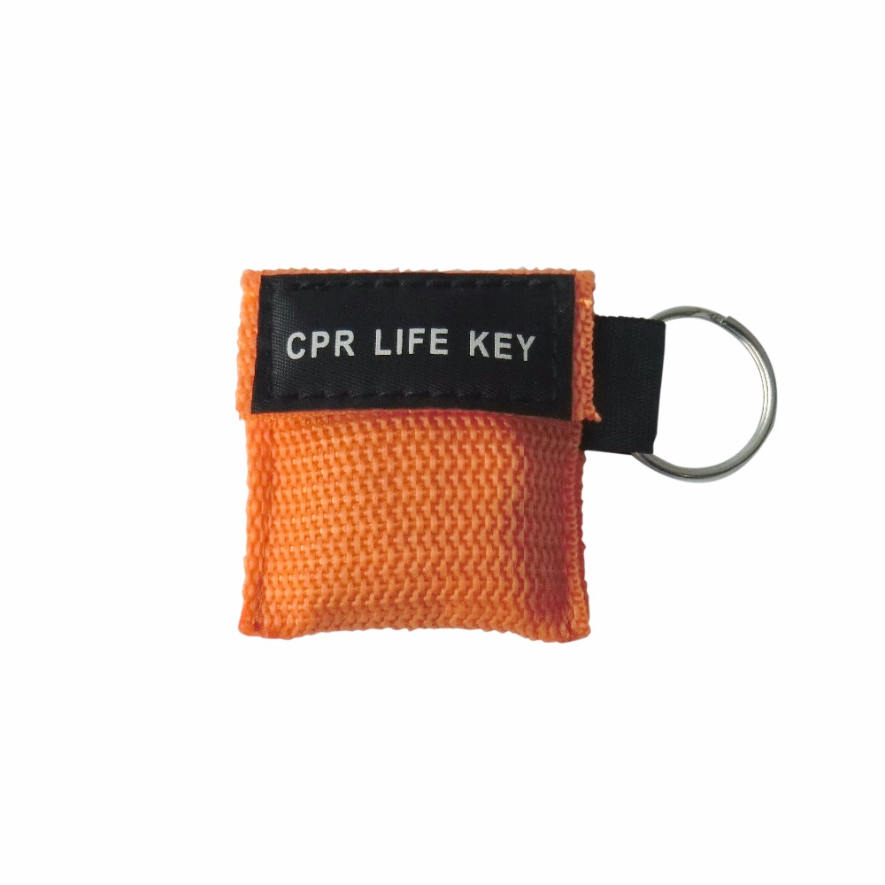 50 Pcs/Pack CPR Resuscitator Keychain Mask Key Ring Emergency Rescue Face Shield Orange