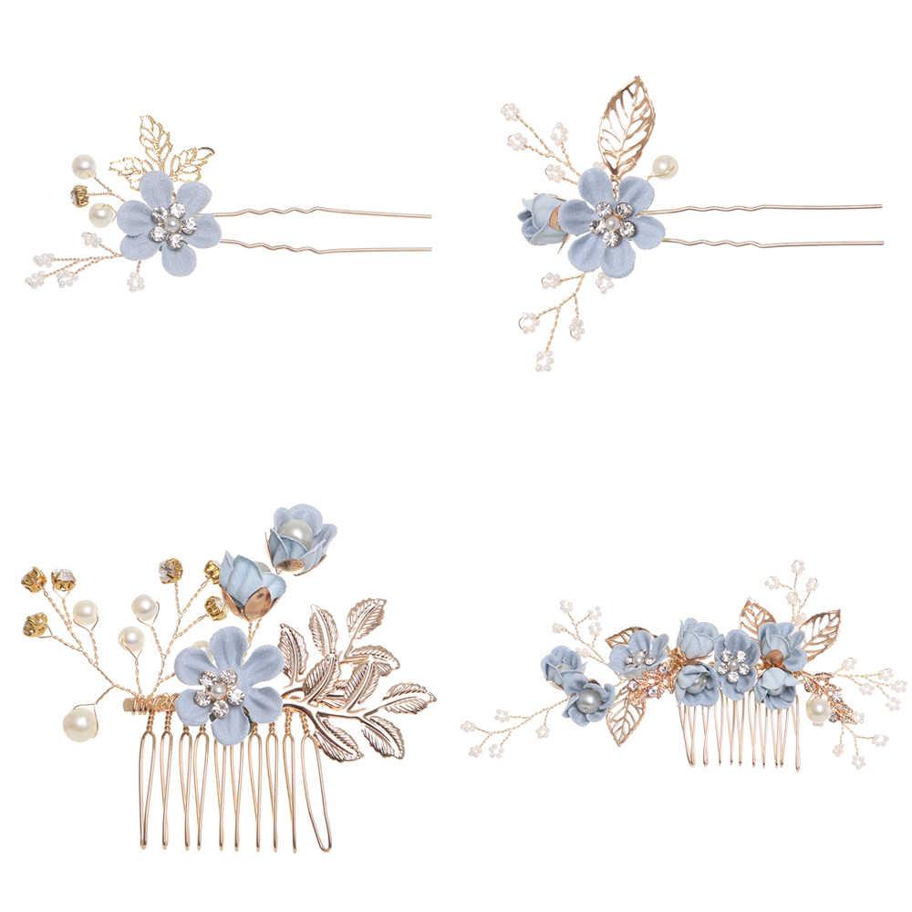 Luxo Azul Flor Cabelo Combs Mantilha Prom Nupcial Do Casamento Acessórios Para o Cabelo Jóias Pinos de Cabelo de Ouro Deixa o Cabelo