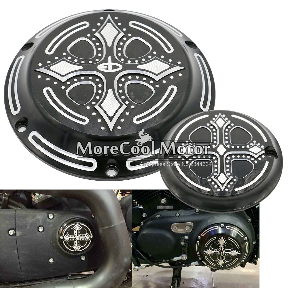 ФОТО 1 Pair CNC Aluminum Dark Fashion Cross Derby Timing Timer Cover Ornamental Guard for Harley Davidson Sportster Iron XL 883 1200