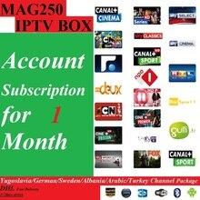 จัดส่งฟรี1เดือนMag250/Mag245 IPTVซอฟแวร์การสมัครสมาชิกที่มียูโกสลาเวีย/เยอรมัน/สวีเดน/แอลเบเนีย/อาหรับ/ตุรกี400 +ช่อง