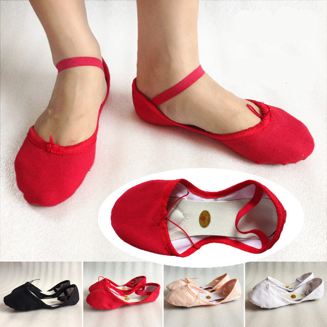 9555d80006 2019 Women Soft Ballet Shoes 5 Color Red Black Flesh White Pink Canvas  Beginner Shoes Girls