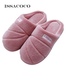 ISSACOCO Women Slippers Cotton Fabric Home Couples Wooden Floor For Pantuflas Zapatos De Mujer