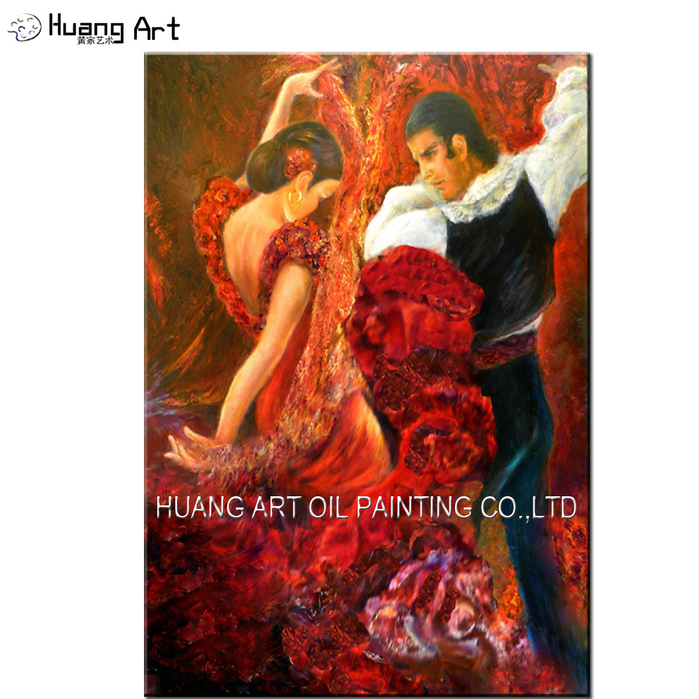 Top Artist Pure Hand painted High Quality Impression Flamenco Dancer Oil Painting on Canvas Couples Dancing