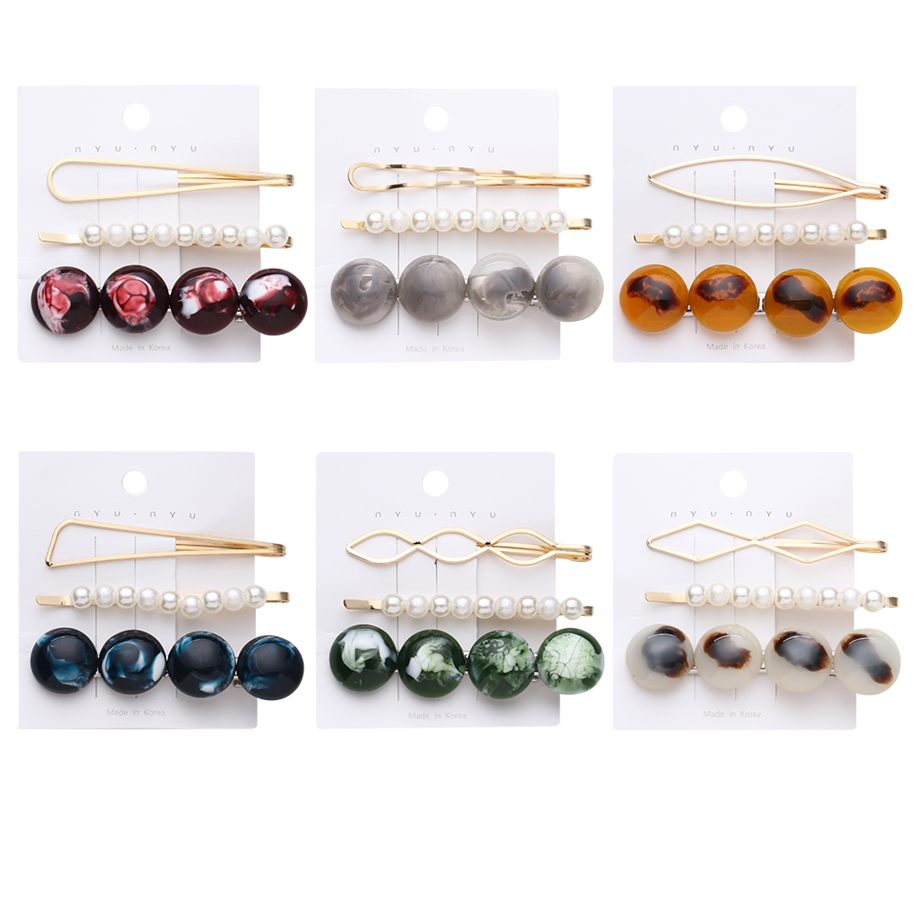 3Pcs/Set Metal Hairpins Imitiation Pearl Colorful Beads Hair Clips for Women Girls Irregular Geometric Fashion Hair Accessories